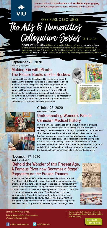 Fall 2020 VIU Colloquium Series Poster